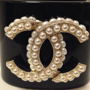 CHANEL Pearl Monogrammed Cuff Bracelet